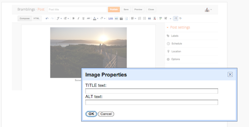 Alt text in Blogger