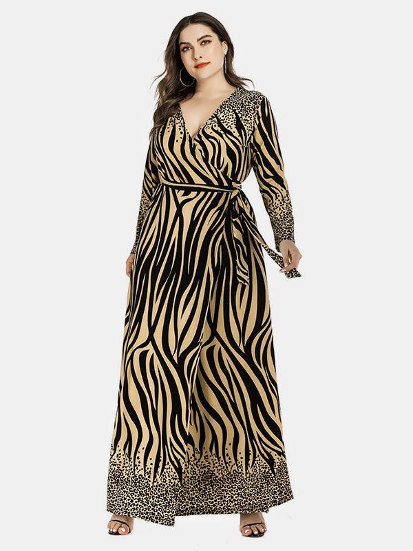 shestar wholesale plus size arab belt leopard tiger stripe dress