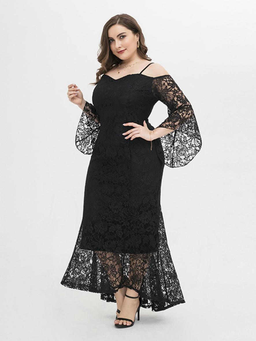 shestar wholesale plus size elegant cold shoulder lace evening dress