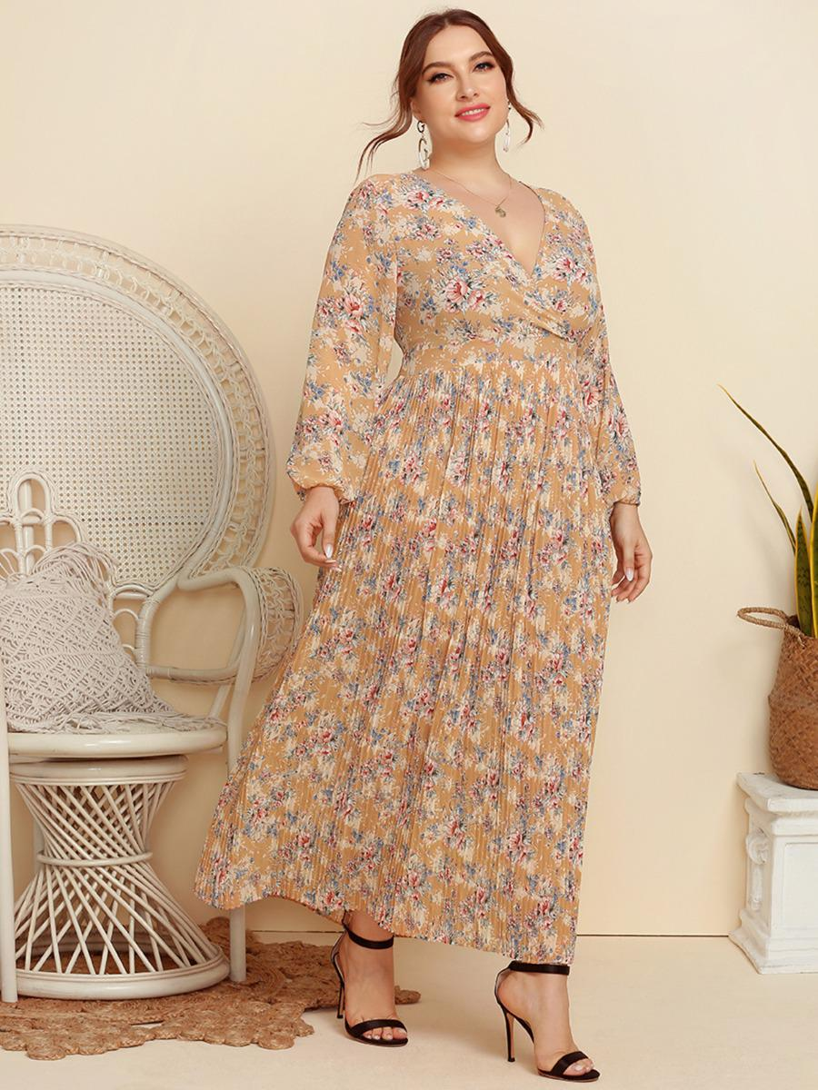 shestar wholesale plus size lantern sleeve floral frill dress