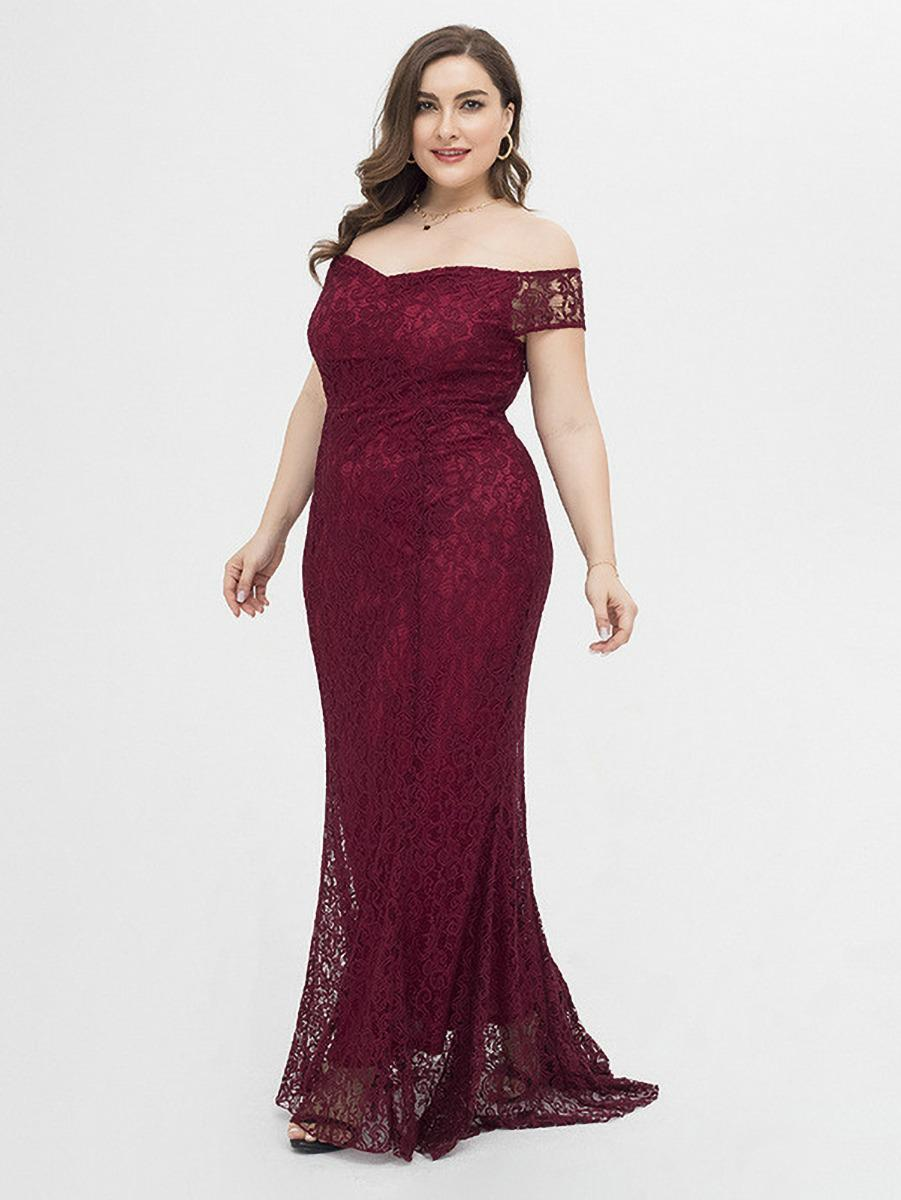 shestar wholesale plus size off shoulder lace evening dress