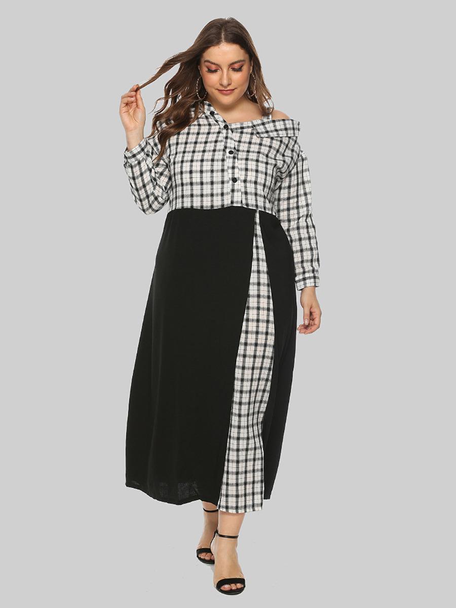 shestar wholesale plus size one shoulder patchwork plaid dress