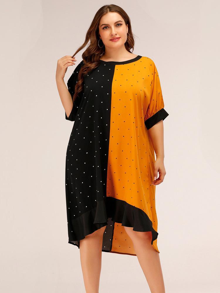 shestar wholesale plus size patchwork polka dot ruffle dress