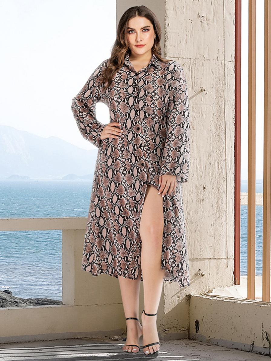 shestar wholesale plus size snake skin print split shirt dress