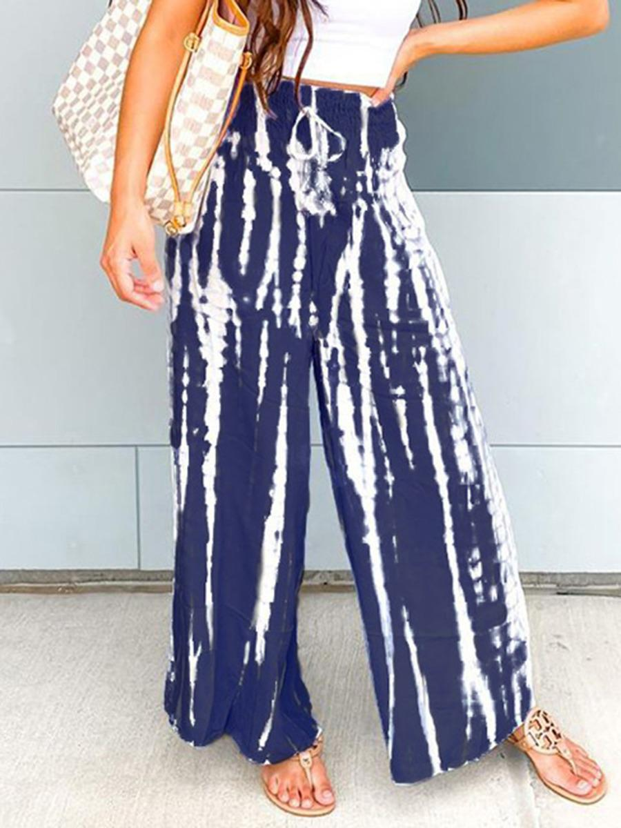 shestar wholesale shirred waist tie dye bell bottom pants